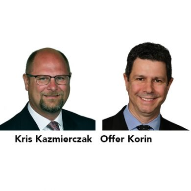 Composite photograph of Kris Kazmierczak (left) and Offer Korin (right) who are attorneys in the business law and litigation practice group with Katz Korin Cunningham in Indianapolis.