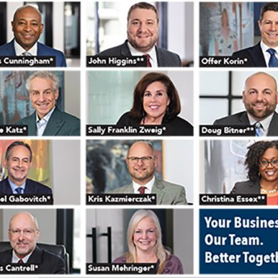 Photos of Norris Cunningham, John Higgins, Offer Korin, Ronnie Katz, Sally Zweig, Doug Bitner, Dennis Cantrell and Sue Mehringer are included in the ad. Katz Korin Cunningham Attorneys at Law