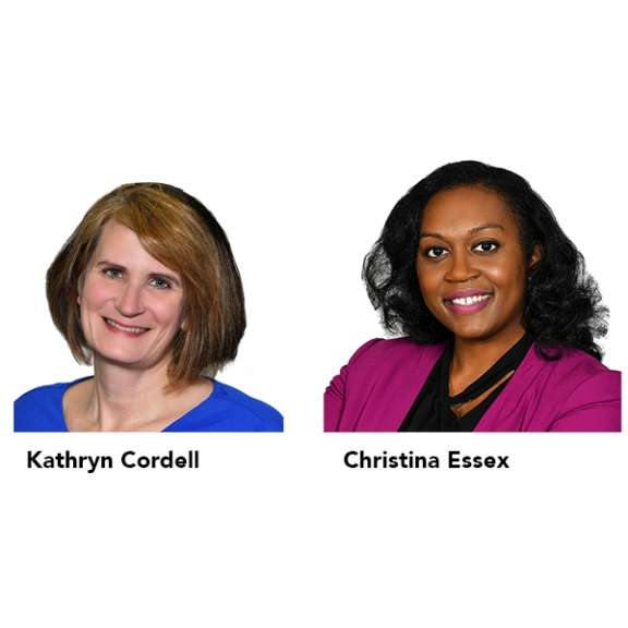 """Photograph of Kathryn """"Katie"""" Cordell and Christina Essex who are attorneys in the Health Care Law Practice Group with Katz Korin Cunningham in Indianapolis."""