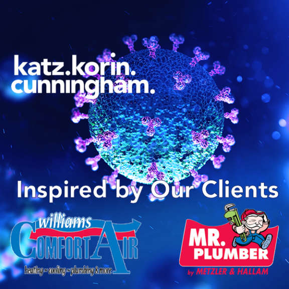 "Katz Korin Cunningham attorneys at law graphic for a story celebrating the work done by Williams Comfort Air and Mr. Plumber. Graphic includes the logos for those two businesses and the words ""inspired by our clients"""