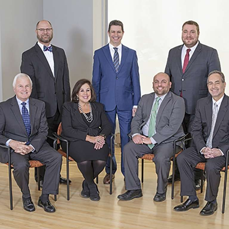 Photograph of the 2020 Katz Korin Cunningham Super Lawyers. Back Row (l to r) Kris Kazmierczak, Offer Korin and John Higgins. Front Row (l to r) James Brauer, Sally Zweig, Doug Bitner and Michael Gabovitch. Not Pictured: Norris Cunningham and Ronnie Katz.