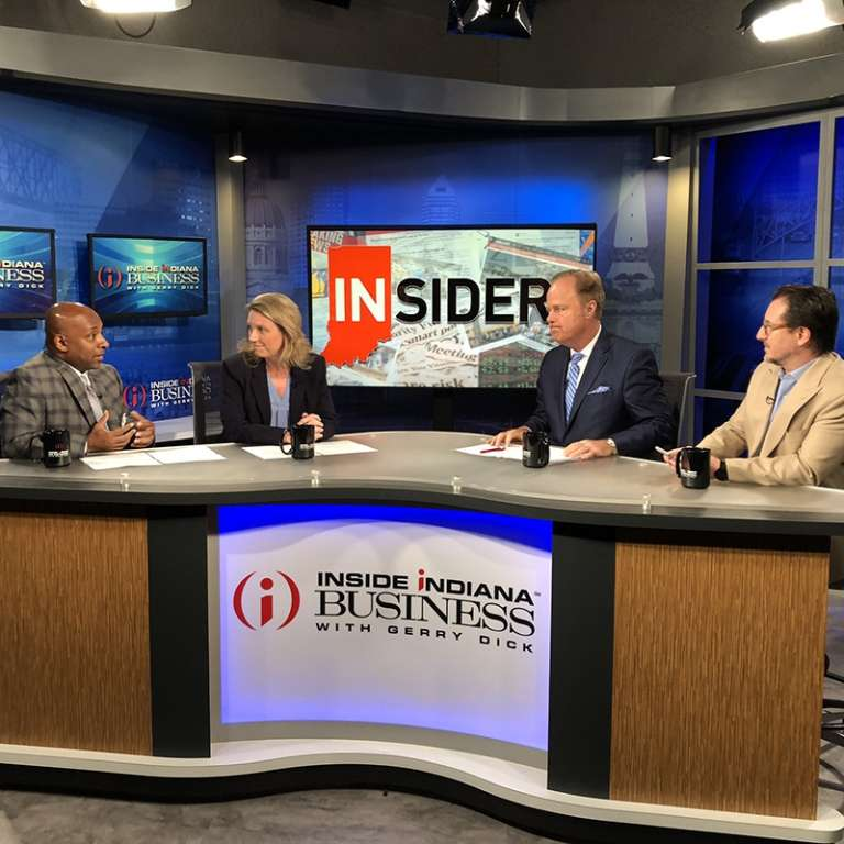 "Photograph of Norris Cunningham on the set of Inside Indiana Business from June 7, 2019. Norris is a co-founding shareholder with Katz Korin Cunningham and lead of the Health Care Law and Litigation practice Group. Norris is a periodic ""Insider"" guest in Inside Indiana Business."