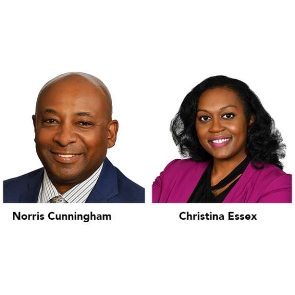 Photograph of Norris Cunningham (co-founding shareholder of Katz Korin Cunningham) and Christina Essex, attorney. Norris is the leader of the health care law and litigation practice group. Christina is an attorney with the health care law and litigation practice group.